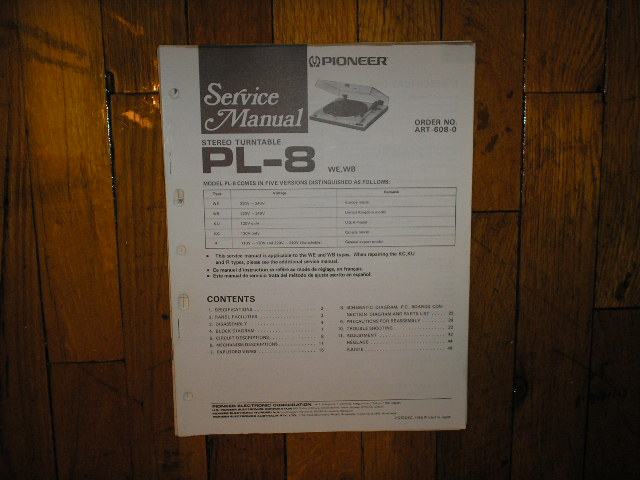 PL-8 Turntable Service Manual