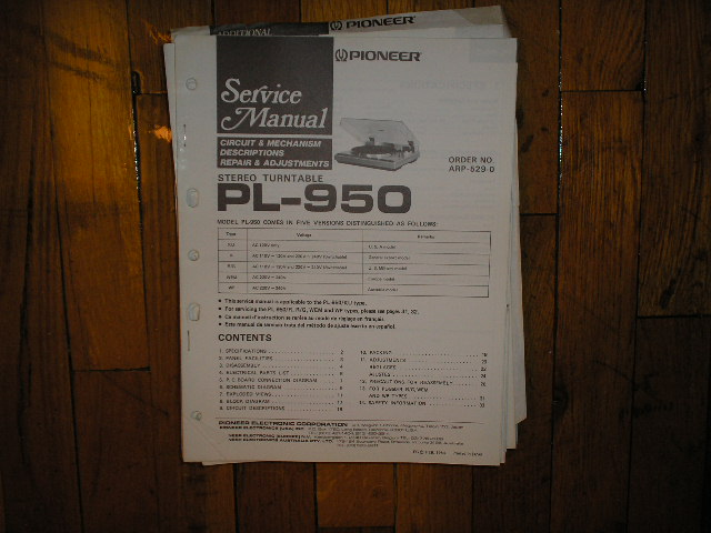 PL-950 Turntable Service Manual