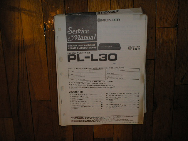 PL-L30 Turntable Service Manual
