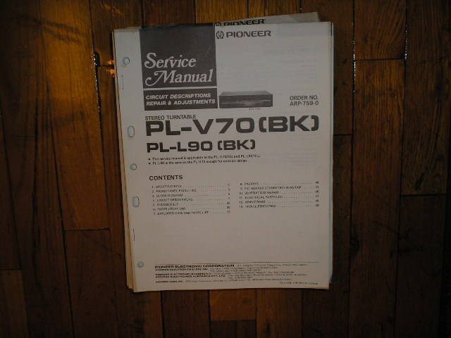 PL-V70 PL-V70BK Turntable Service Manual