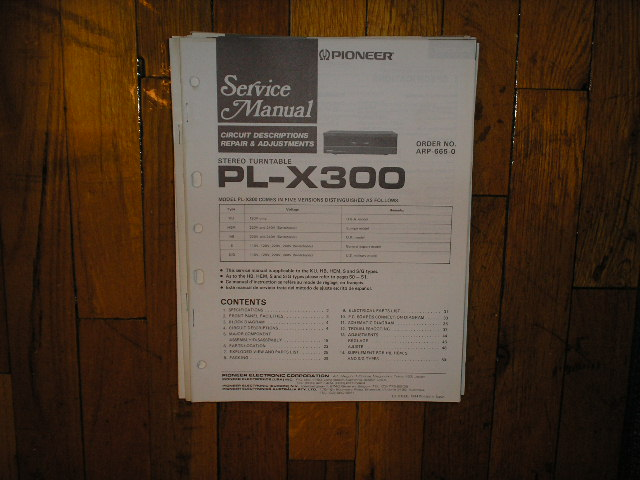 PL-X300 Turntable Service Manual