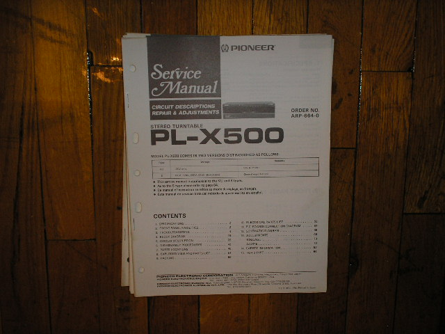 PL-X500 Turntable Service Manual