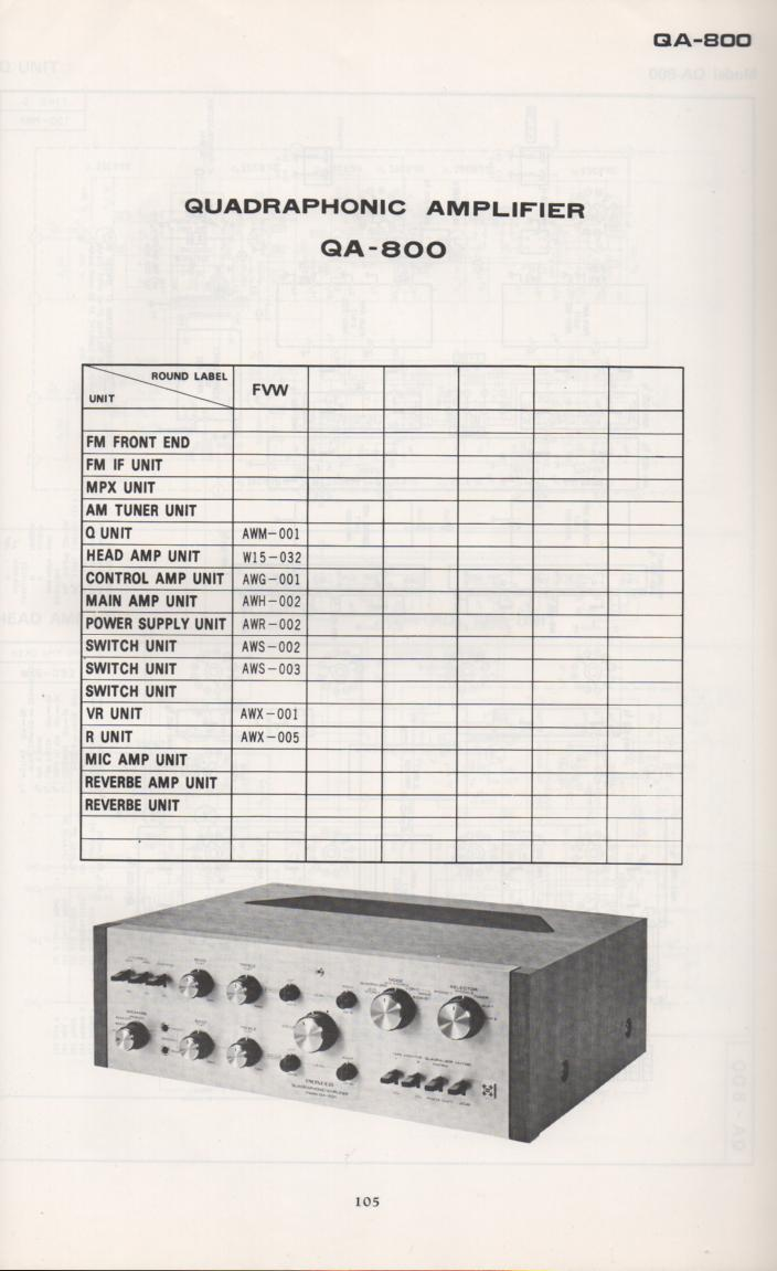 QA-800 Amplifier Schematic Manual Only.  It does not contain parts lists, alignments,etc.  Schematics only