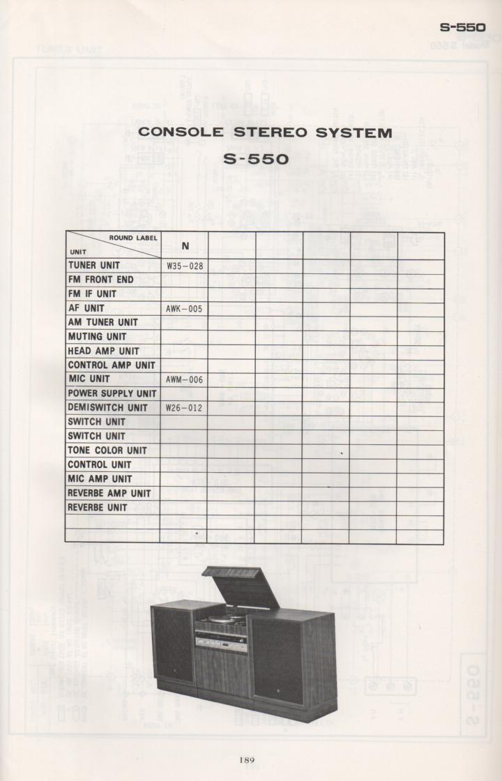 S-550 Stereo System Schematic Manual Only.  It does not contain parts lists, alignments,etc.  Schematics only