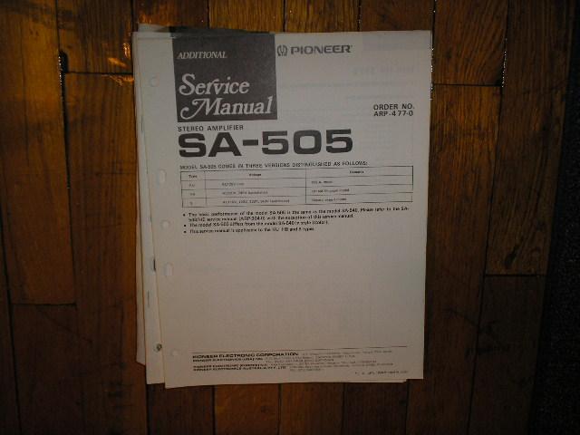 SA-505 SA-540 Amplifier Service Manual