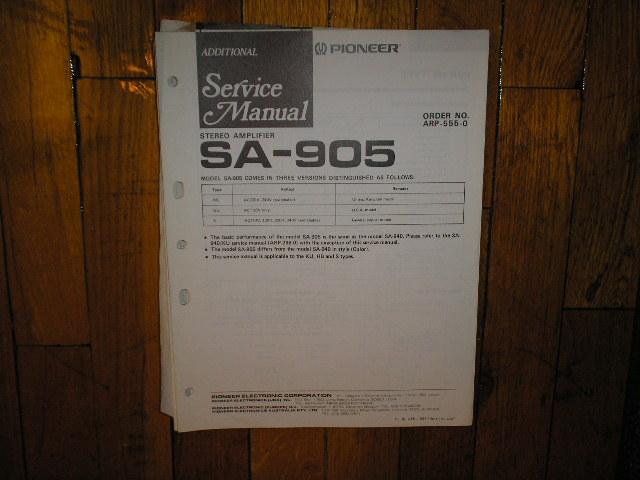 SA-905 Amplifier Service Manual