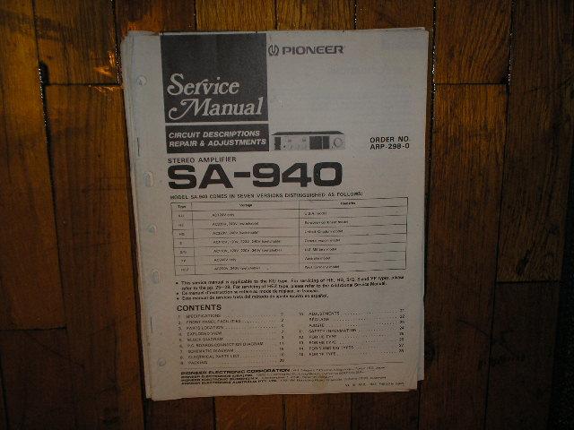 SA-940 Amplifier Service Manual