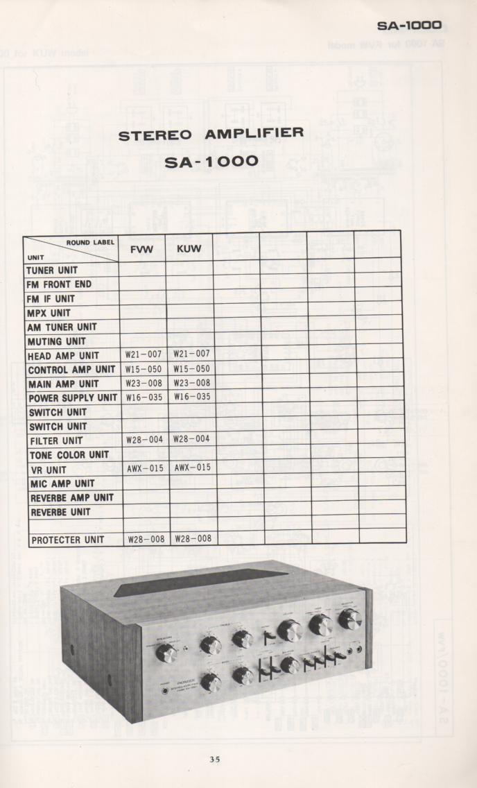 SA-1000 Amplifier Schematic Manual Only.  It does not contain parts lists, alignments,etc.  Schematics only