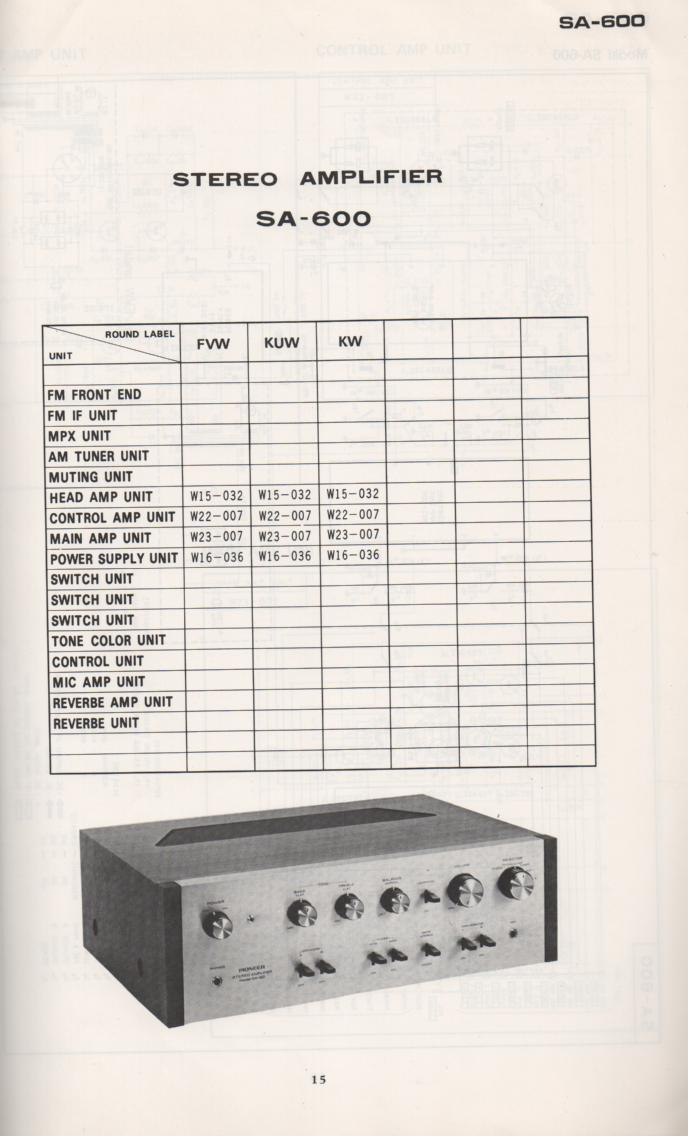 SA-600 Amplifier Schematic Manual Only.  It does not contain parts lists, alignments,etc.  Schematics only