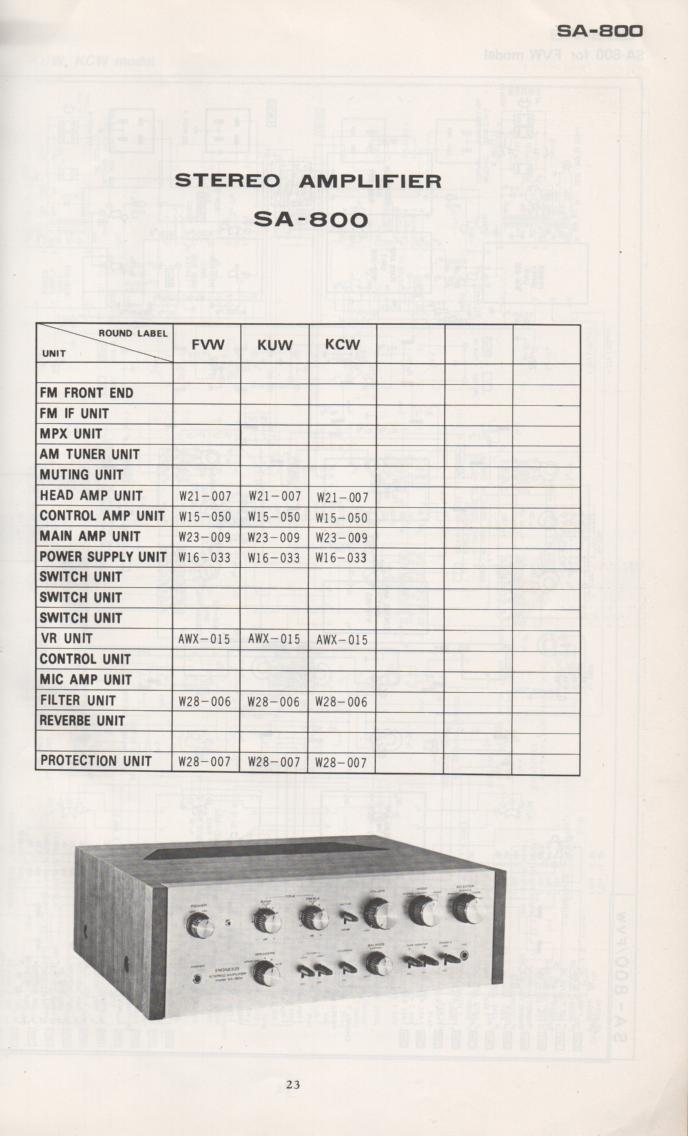 SA-800 Amplifier Schematic Manual Only.  It does not contain parts lists, alignments,etc.  Schematics only