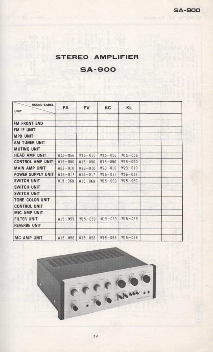 SA-900 Amplifier Schematic Manual Only.  It does not contain parts lists, alignments,etc.  Schematics only