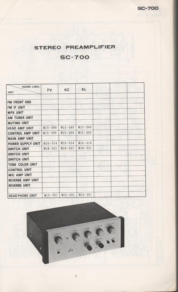 SC-700 Pre-Amplifier Schematic Manual Only.  It does not contain parts lists, alignments,etc.  Schematics only