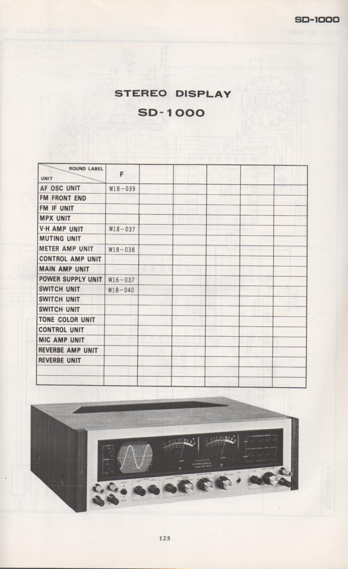 SD-1000 Stereo Display Schematic Manual Only.  It does not contain parts lists, alignments,etc.  Schematics only