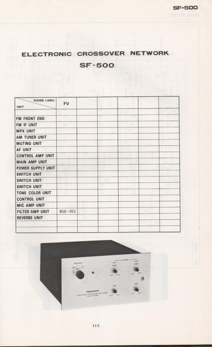 SF-500 Electronic Crossover Schematic Manual Only.  It does not contain parts lists, alignments,etc.  Schematics only