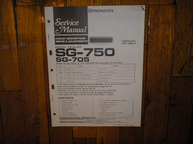 SG-705 SG-750 Graphic Equalizer Service Manual