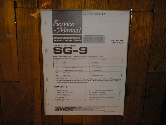 SG-9 Graphic Equalizer Service Manual