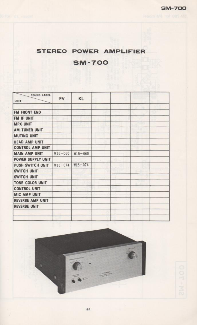 SM-700 Power Amplifier Schematic Manual Only.  It does not contain parts lists, alignments,etc.  Schematics only