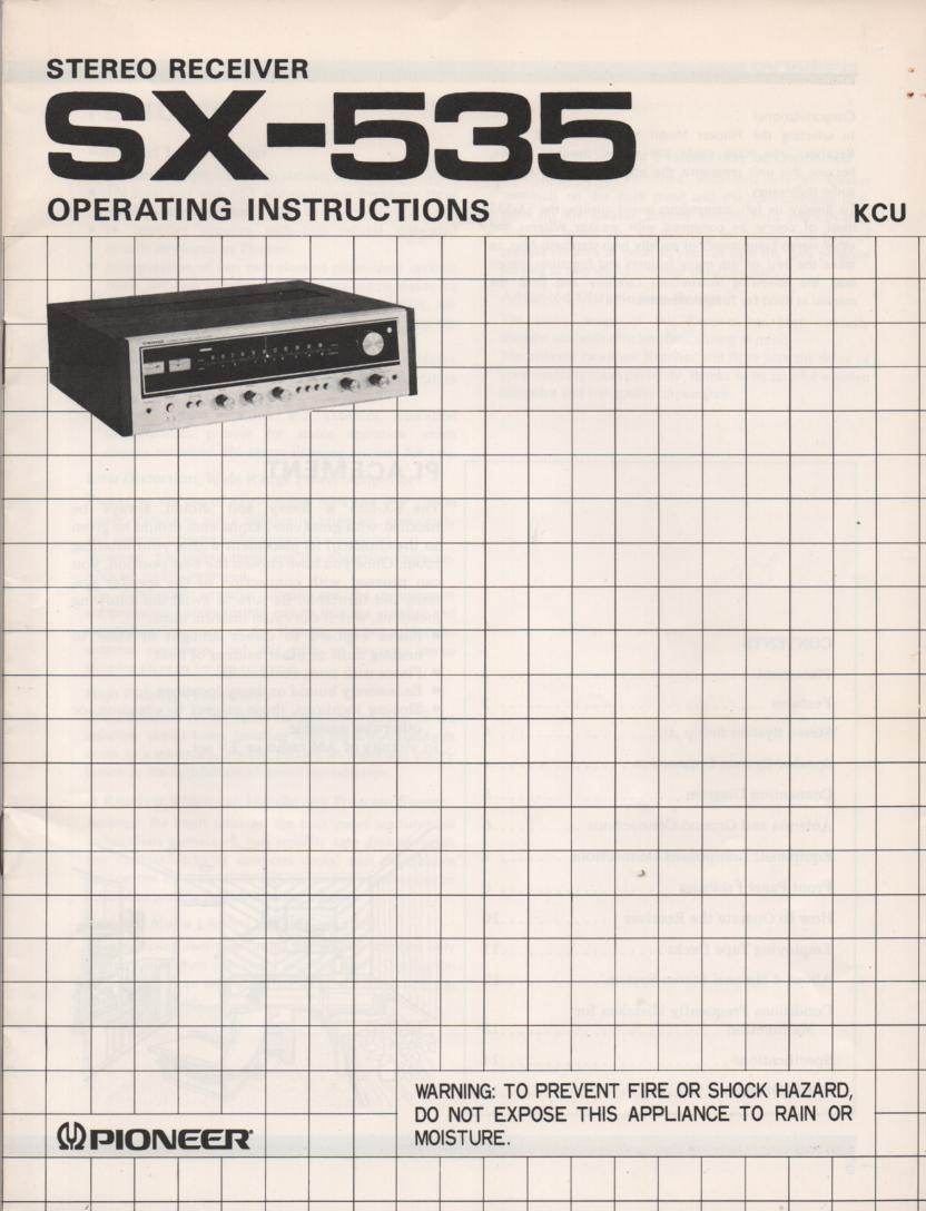 SX-535 Receiver Owners Manual