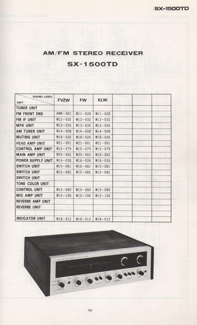 SX-1500TD Schematic Manual Only.  It does not contain parts lists, alignments,etc.  Schematics only