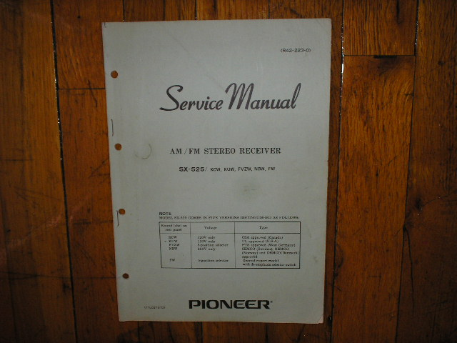 SX-525 Receiver Service Manual for KCW, KUW, FZVW, NBW, FW, Versions..