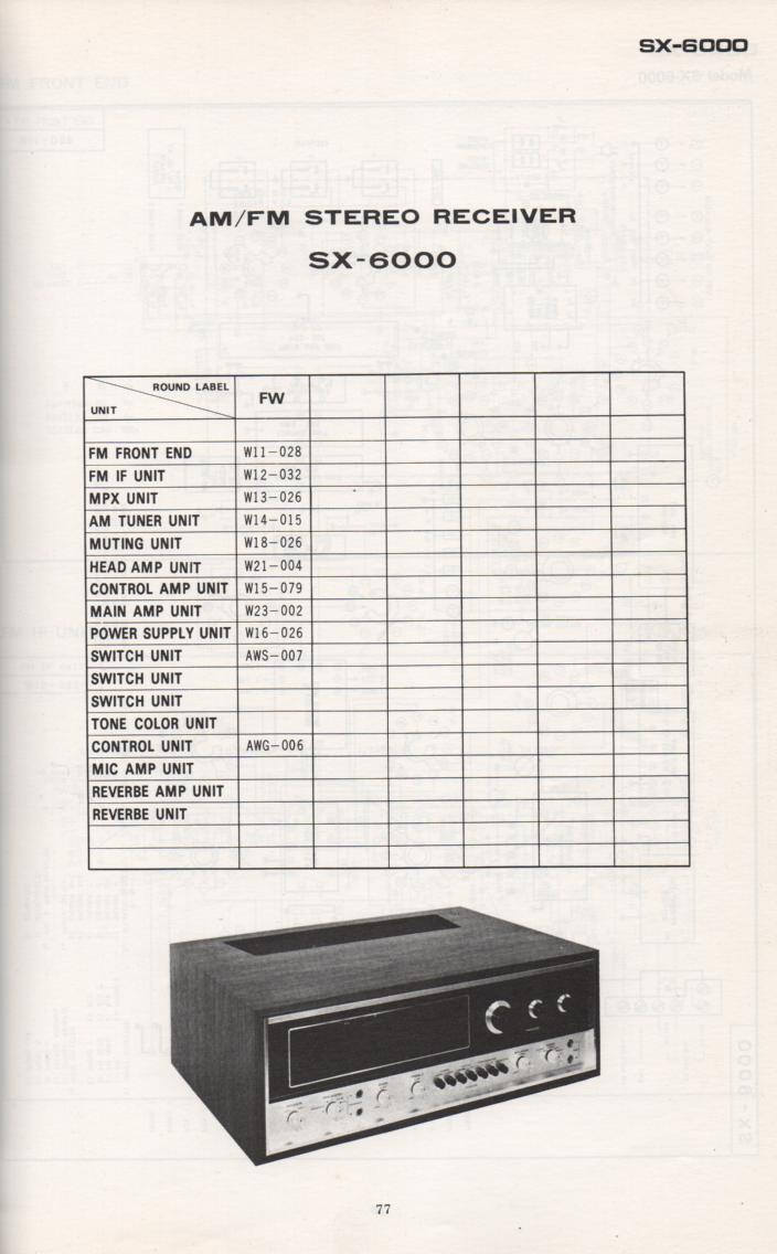 SX-6000 Schematic Manual Only.  It does not contain parts lists, alignments,etc.  Schematics only