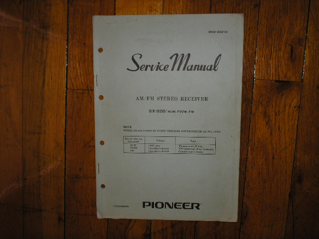 SX-828 Receiver Service Manual for KUW, FVZW, FW Versions.