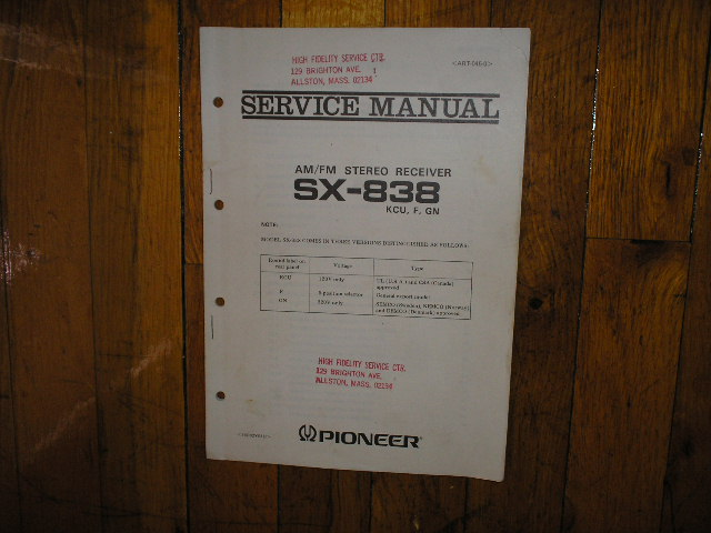 SX-838 Receiver Service Manual for KCU, F,and GN Versions..