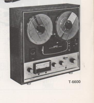 T-6600 Reel to Reel Schematic Manual  PIONEER SCHEMATIC MANUALS