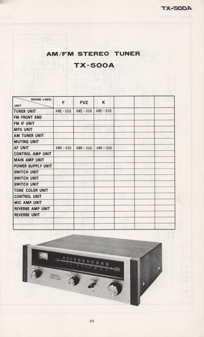 TX-500A Tuner Schematic Manual Only.  It does not contain parts lists, alignments,etc.  Schematics only