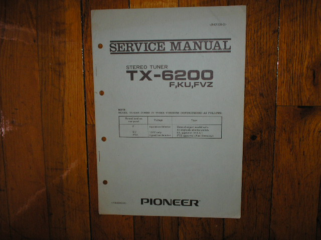 TX-6200 Tuner Service Manual F, KU, FVZ, Versions.