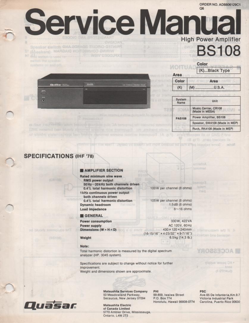 BS108 Amplifier Service Manual