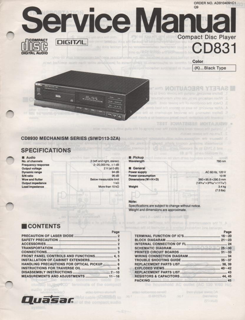 CD831 CD Player Service Manual