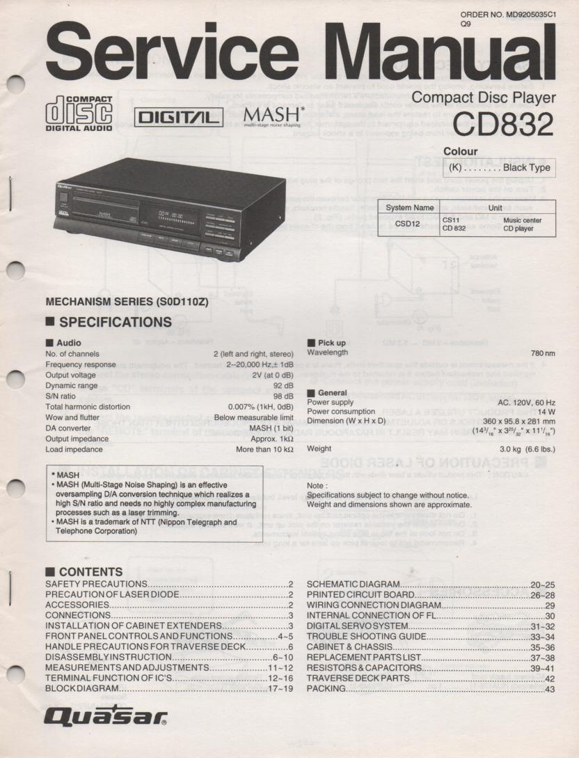 CD832 CD Player Service Manual