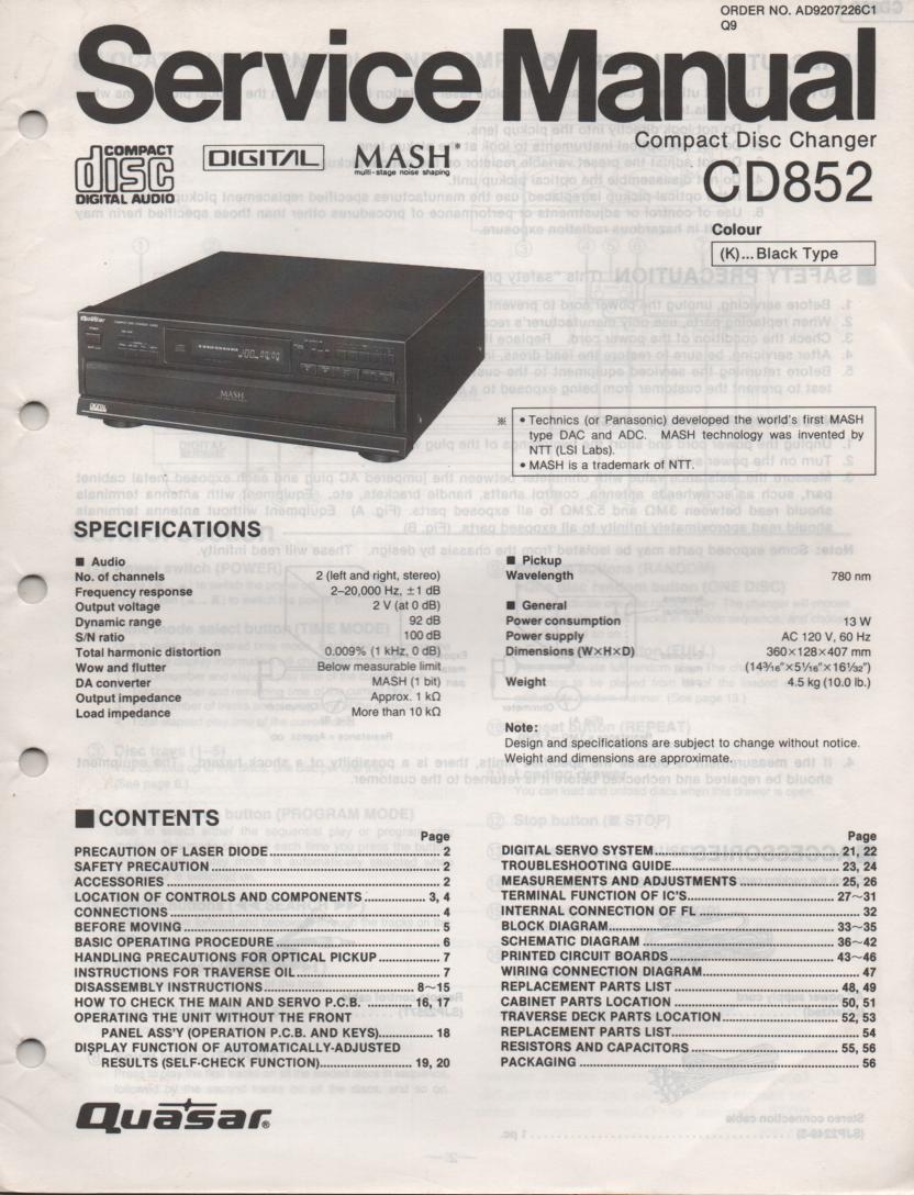 CD852 CD Player Service Manual