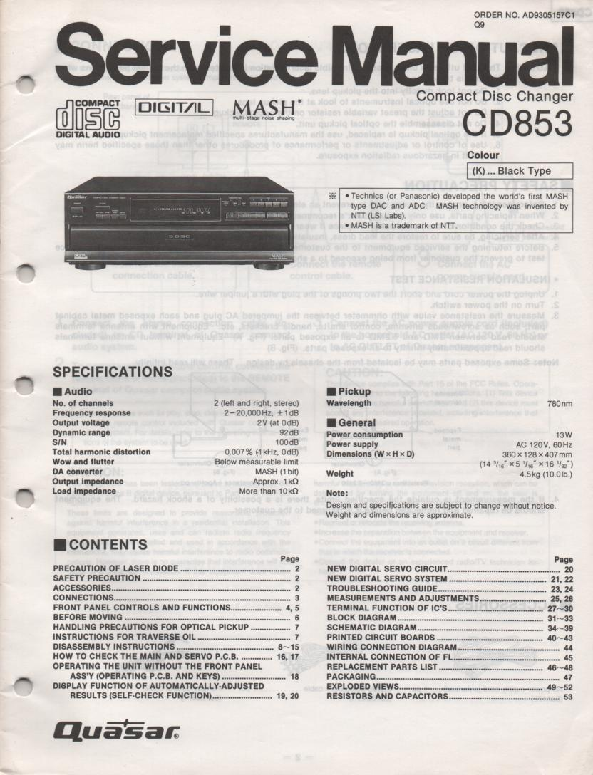 CD853 CD Player Service Manual