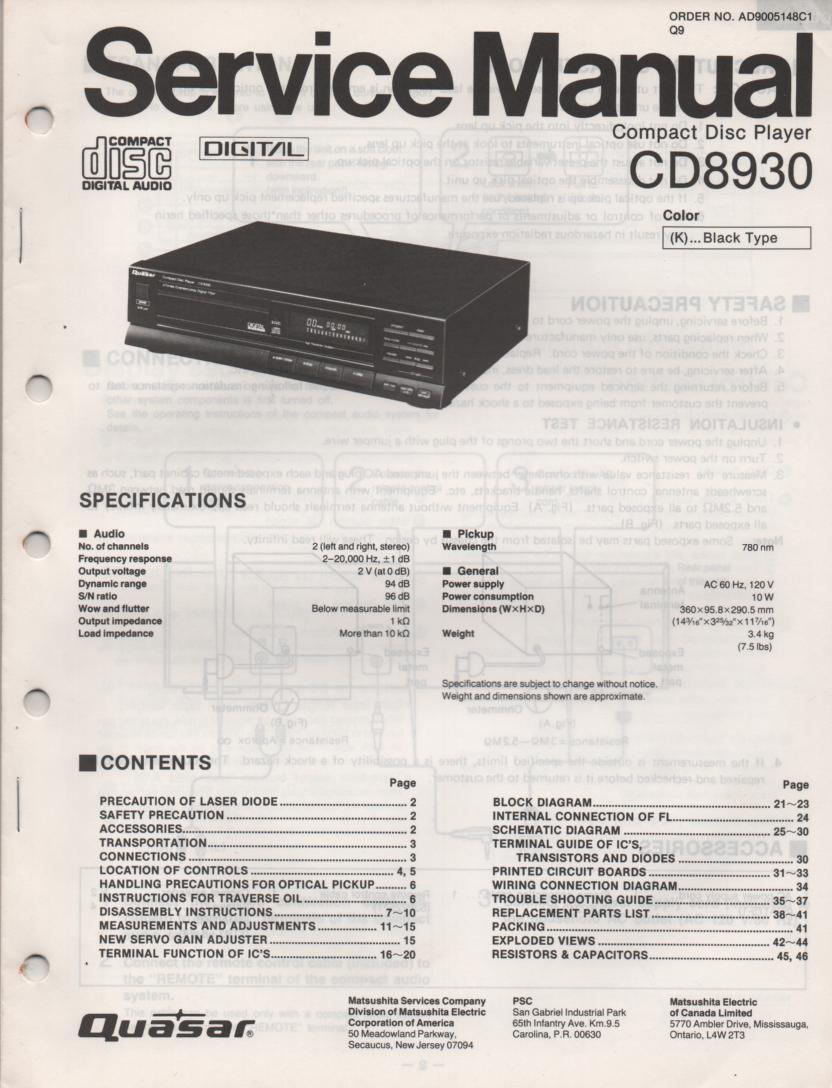 CD8930 CD Player Service Manual