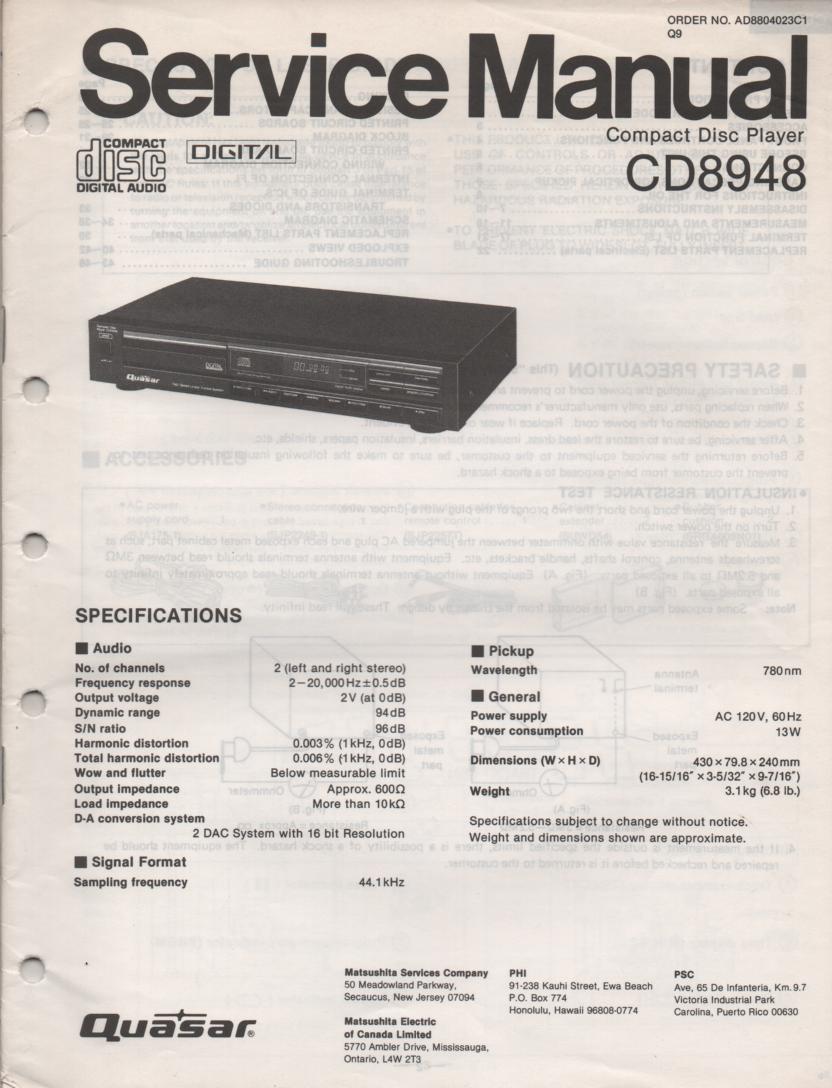 CD8948 CD Player Service Manual.