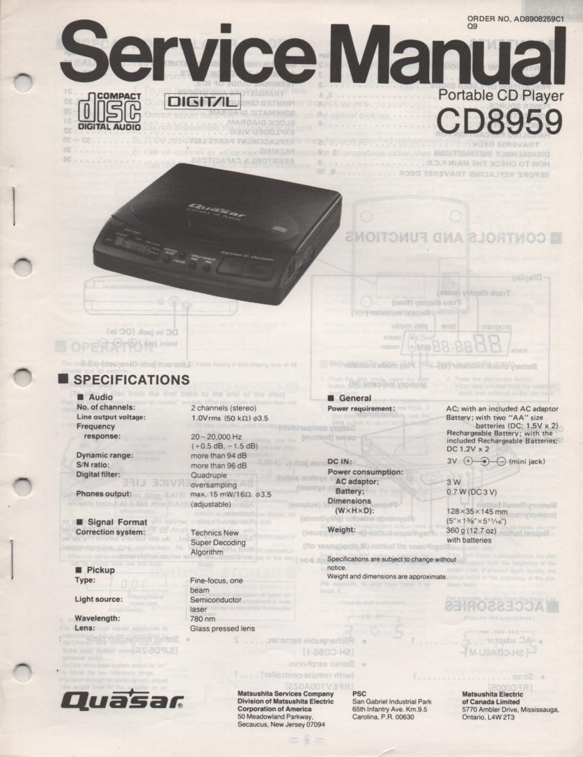CD8959 CD Player Service Manual.