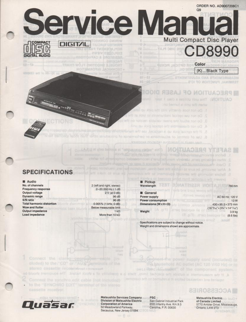 CD8990 CD Player Service Manual.