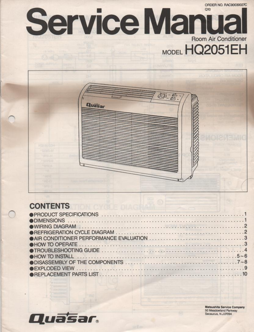 HQ2051EH Air Conditioner Service Manual