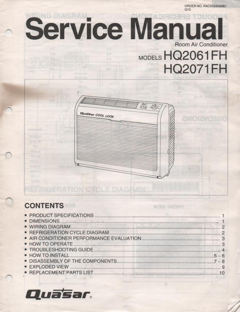 HQ2061FH HQ2071FH Air Conditioner Service Manual
