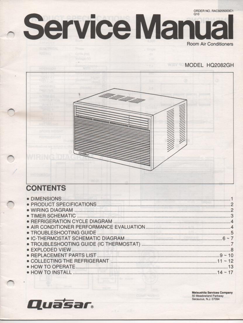 Quasar Hq2082gh Air Conditioner Service Manual