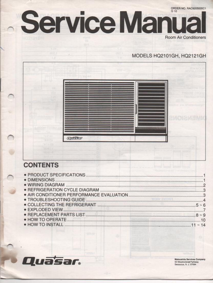 Quasar Hq2101gh Hq2121gh Air Conditioner Service Manual