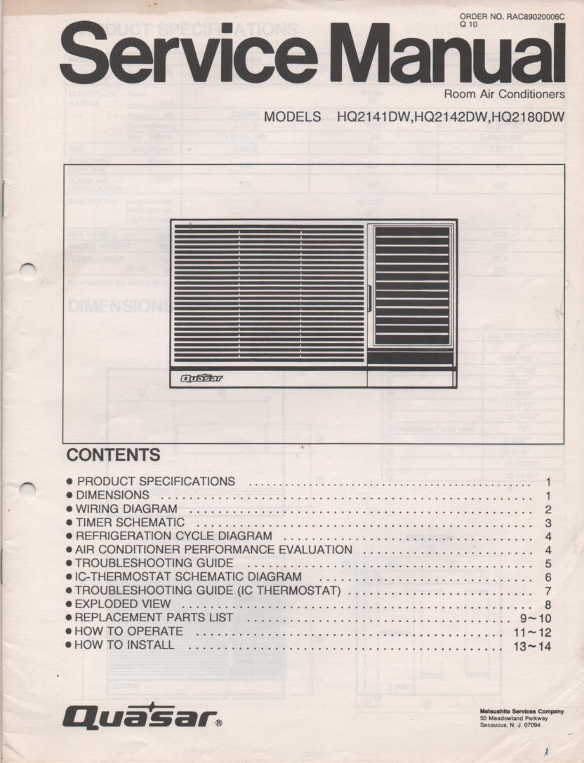 HQ2141DW HQ2142DW HQ2180DW Air Conditioner Service Manual