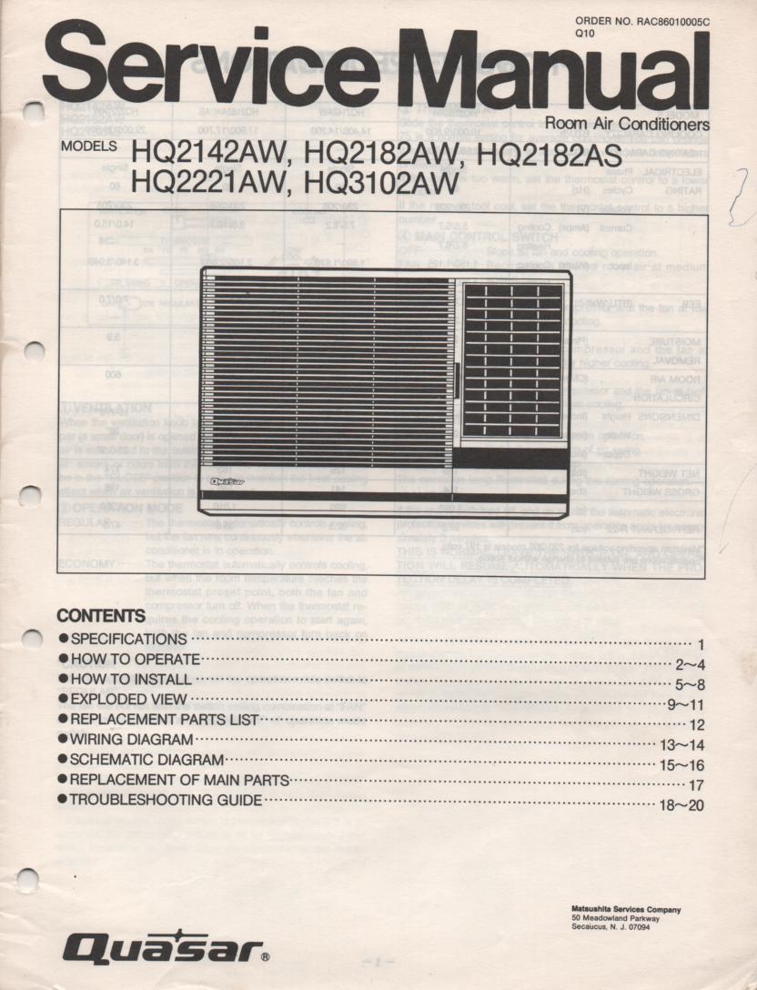 Quasar Hq2142aw Hq2182aw Hq2182as Hq2221aw Hq3102aw Air