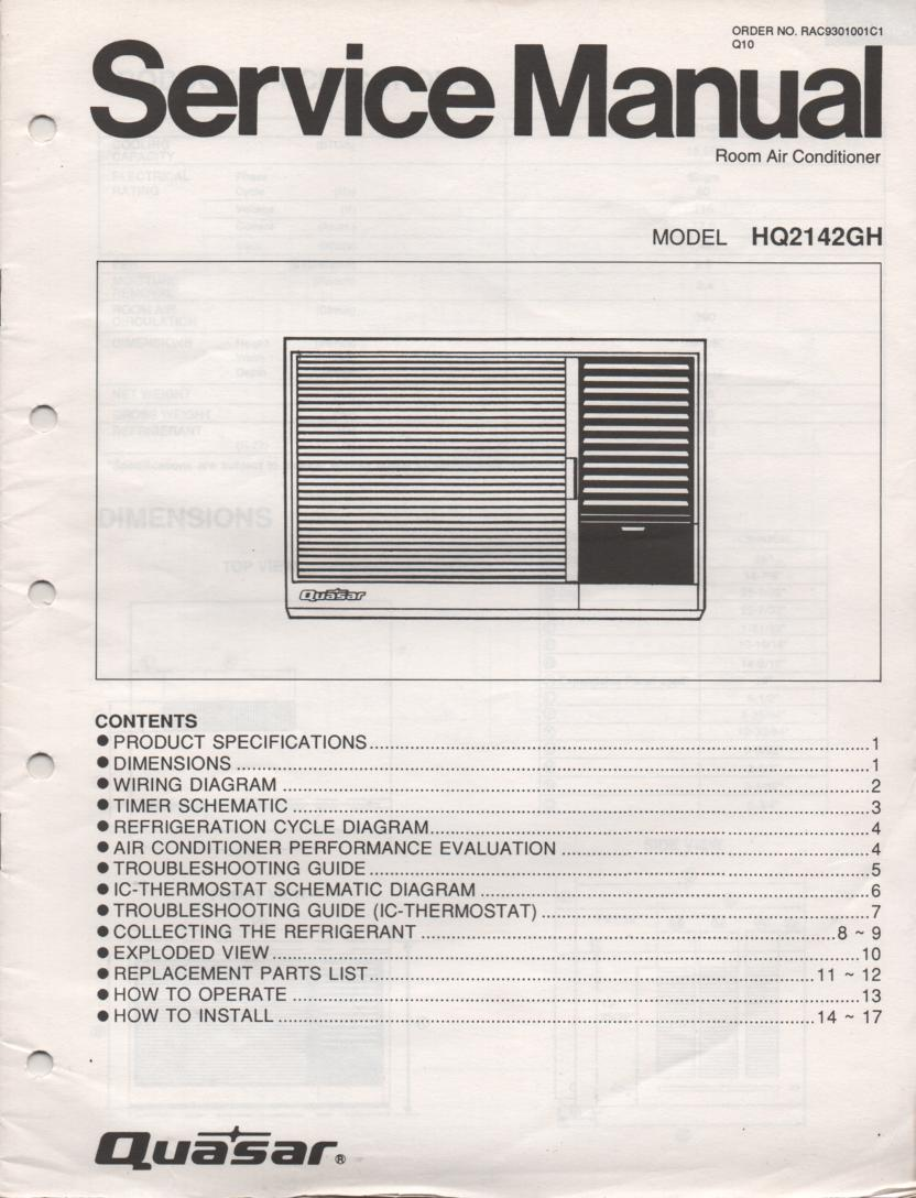 HQ2142GH Air Conditioner Service Manual