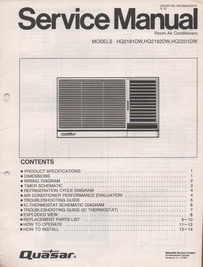 HQ2181DW HQ2182DW HQ2201DW Air Conditioner Service Manual