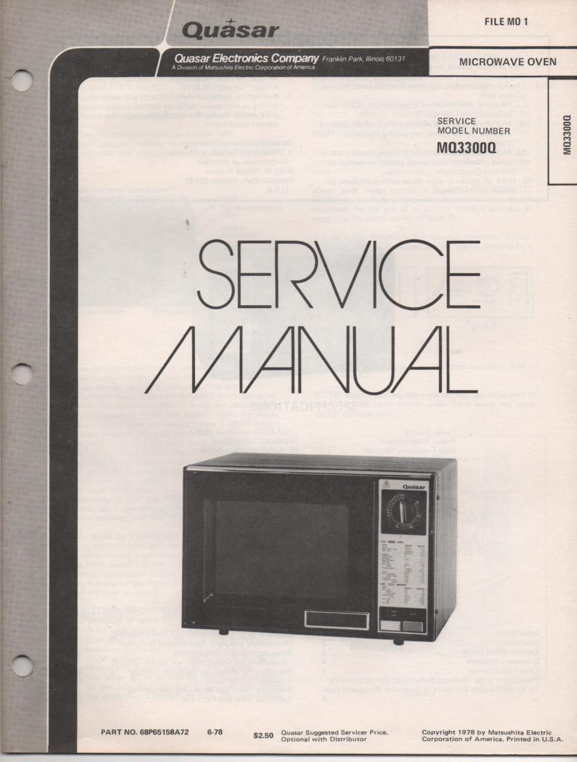MQ3300Q Microwave Oven Service Instruction Manual