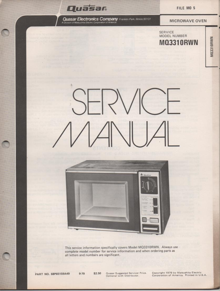MQ3310RWN Microwave Oven Service Instruction Manual
