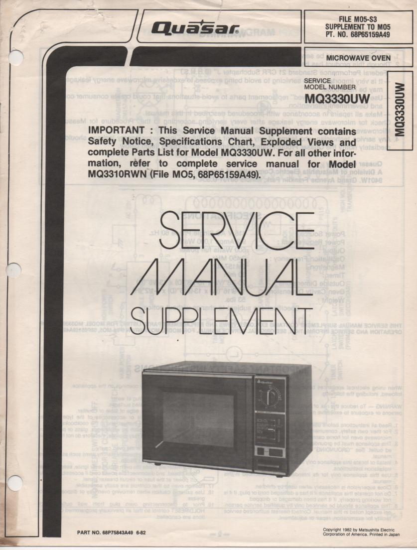 MQ3330UW Microwave Oven Service Instruction Manual.  MQ3310RWN Manual is included..